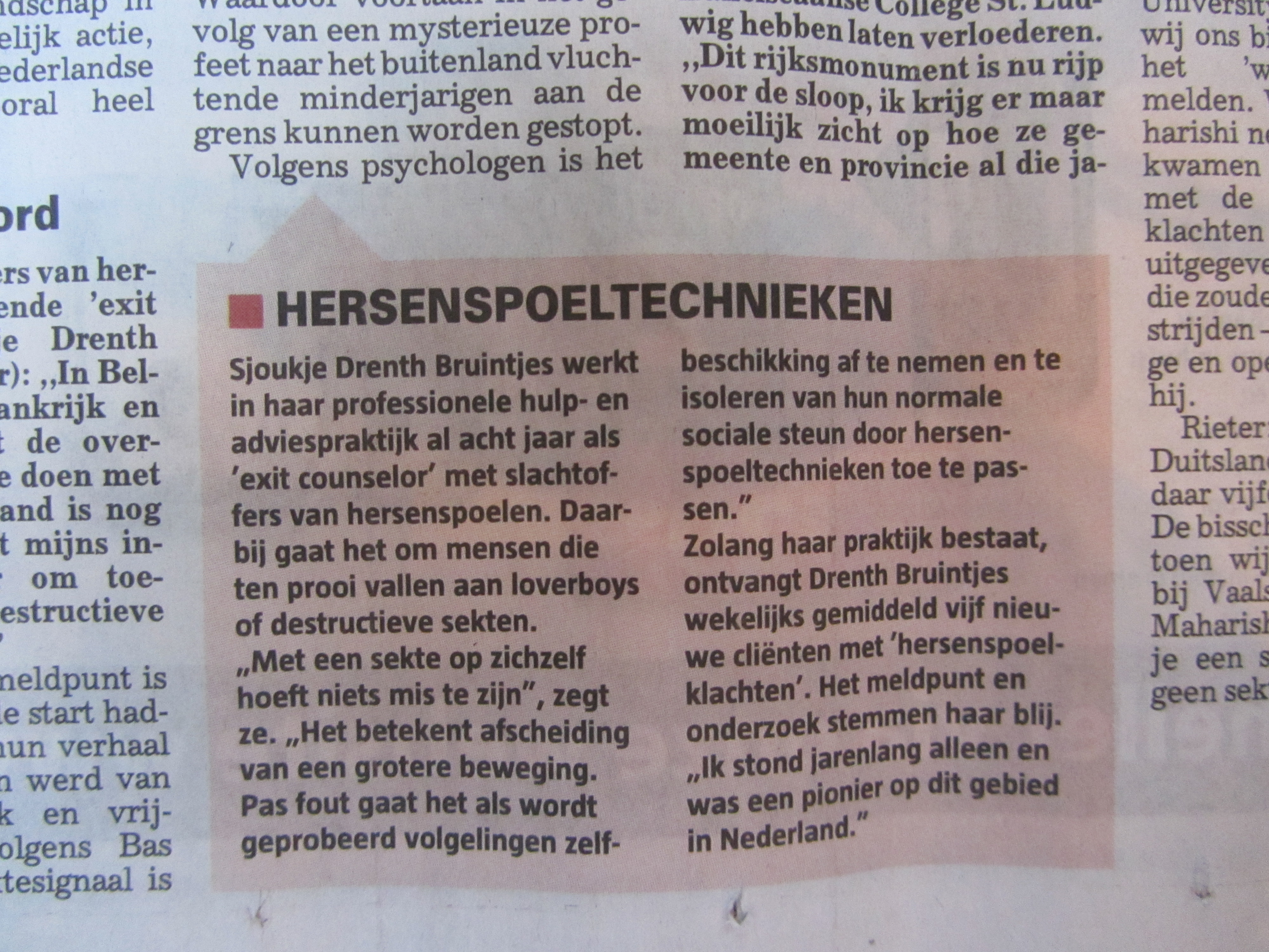 Sjoukje Drenth Bruintjes in de Telegraaf over sekte en hersenspoeltechnieken mrt. 2013